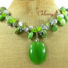 GREEN CAT EYE TURQUOISE FW PEARL NECKLACE