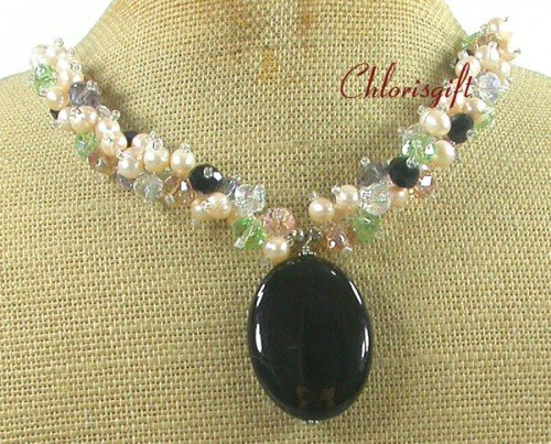 BLACK AGATE & MULTI CRYSTAL & FW PEARL NECKLACE