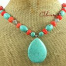 TURQUOISE & PINK CORAL NECKLACE