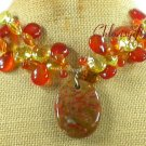 BACCIATED JASPER & RED CARNELIAN & CRYSTAL NECKLACE