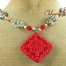 RED CINNABAR & DALMATIAN JASPER & CRYSTAL NECKLACE