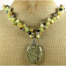 SESAME JASPER OLIVE JADE BLACK AGATE PEARLS NECKLACE