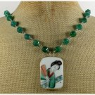 MING DYNASTY POTTERY SHARD GREEN AGATE NECKLACE