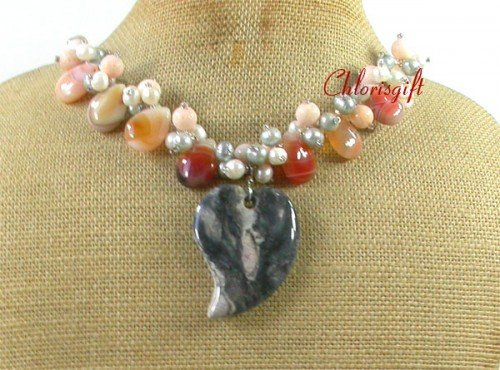 CRAZY AGATE LACE AGATE SALMON CORAL PEARLS NECKLACE