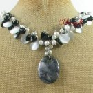 CRAZY AGATE BLACK AGATE CAT EYE FW PEARL NECKLACE