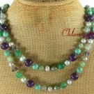 LONG! 40 TURQUOISE GREEN AGATE PURPLE JADE NECKLACE