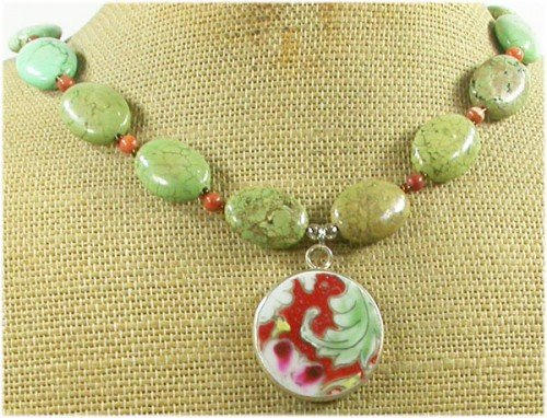 MING DYNASTY POTTERY SHARD GREEN TURQUOISE NECKLACE