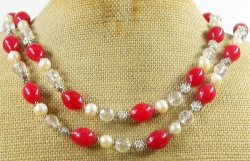 LONG! 40 RED JADE & CLEAR CRYSTAL & FW PEARL NECKLACE