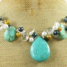 TURQUOISE & CLEAR CRYSTAL & FW PEARL NECKLACE