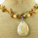 YELLOW JADE AUTUMN JASPER CRYSTAL PEARL NECKLACE