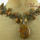 BROWN POPPY JASPER & WOOD JASPER & FW PEARL NECKLACE
