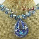 MURANO GLASS CRYSTAL QUARTZ PEARLS NECKLACE