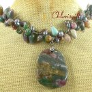 FANCY JASPER & SMOKY CRYSTAL & FW PEARL NECKLACE