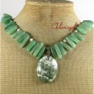 NATURAL MOSS AGATE GREEN JADE NECKLACE