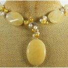YELLOW JADE & FRESH WATER PEARLS NECKLACE