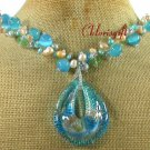 MURANO GLASS & CAT EYE & CRYSTAL & PEARL NECKLACE