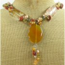 YELLOW AGATE GOLDSTONE QUARTZ FW PEARL NECKLACE