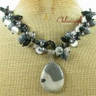 PICASSO JASPER & SNOWFLAKE OBSIDIAN & AGATE NECKLACE
