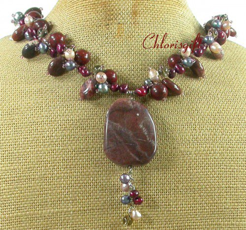 RED BROWN PICTURE JASPER FRESH WATER PEARL NECKLACE