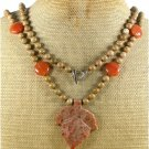 LONG! 40 AUTUMN JASPER LEAF HONEY JADE NECKLACE