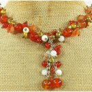 RED CARNELIAN & LACE AGATE & PEARL NECKLACE