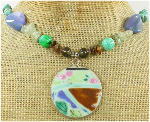 MING DYNASTY POTTERY SHARD & TURQUOISE & AGATE NECKLACE