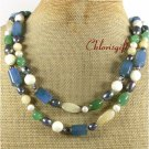 LONG! 40 BLUE AGATE YELLOW GREEN JADE PEARLS NECKLACE