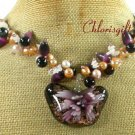 BUTTERFLY LAMPWORK CAT EYE QUARTZ PEARL NECKLACE