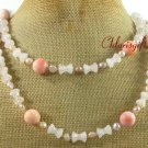 LONG! 40 PINK CORAL ROSE QUARTZ PEARLS NECKLACE
