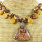 BACCIATED JASPER & YELLOW JADE & MOOKITE NECKLACE