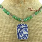 MING DYNASTY POTTERY SHARD & GREEN JADE NECKLACE