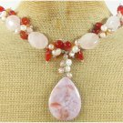 SAGE PLUME AGATE ROSE QUARTZ RED CARNELIAN NECKLACE