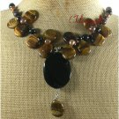 BLACK AGATE TIGER EYE FRESH WATER PEARLS NECKLACE