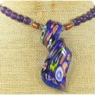 MURANO GLASS & PURPLE JADE & FW PEARL NECKLACE