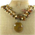 BROWN AGATE CITRINE YELLOW JADE CRYSTAL NECKLACE