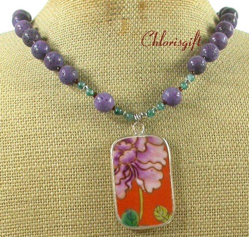 MING DYNASTY POTTERY SHARD PURPLE CORAL AGATE NECKLACE