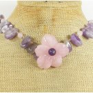 ROSE QUARTZ FLOWER & AMETHYST NECKLACE