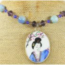 POTTERY SHARD & BLUE PURPLE JADE NECKLACE