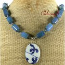 MING DYNASTY POTTERY SHARD BLUE AGATE NECKLACE
