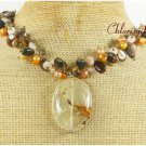 TIGER QUARTZ TIGER EYE FOSSIL AGATE PEARL NECKLACE