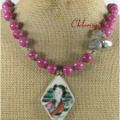 POTTERY SHARD PINK JADE JASPER NECKLACE
