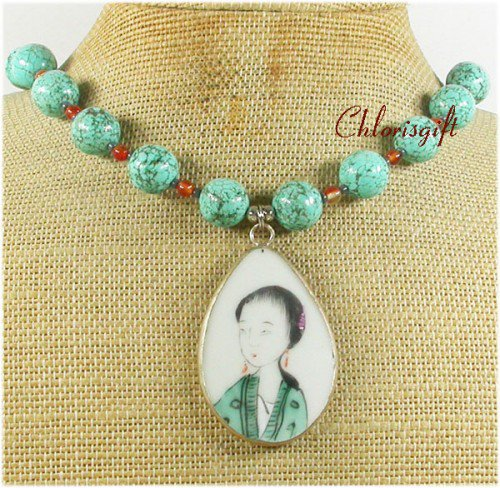 POTTERY SHARD TURQUOISE AGATE NECKLACE