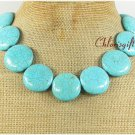 HUGE BLUE TURQUOISE HAND KNOT NECKLACE