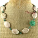 GREEN CINNABAR WHITE TURQUOISE MOSS AGATE NECKLACE