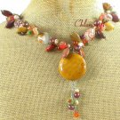 YELLOW JASPER MOOKITE CRAZY AGATE CANDY JADE NECKLACE