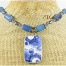 POTTERY SHARD & BLUE AGATE NECKLACE