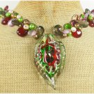MURANO GLASS RED CARNELIAN CRYSTAL CAT EYE NECKLACE
