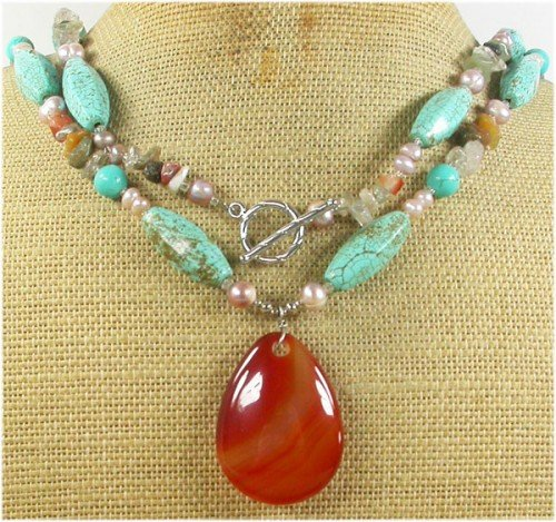 LONG! 40 RED AGATE & TURQUOISE & QUARTZ NECKLACE