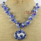 POTTERY SHARD BLUE WHITE JADE NECKLACE