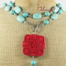 LONG! 40 RED CINNABAR & TURQUOISE NECKLACE